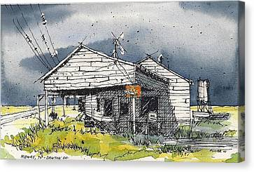 Canvas Print featuring the mixed media Midway Texas Fillin' Station by Tim Oliver