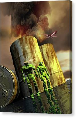 Military Robots Canvas Print by Victor Habbick Visions