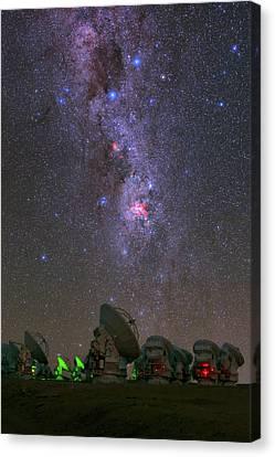 Constellations Canvas Print - Milky Way Over Alma Telescopes by Babak Tafreshi