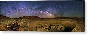 Milky Way Over Chaco Canyon Ruins Canvas Print by Walter Pacholka, Astropics