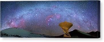 Milky Way Over Telescopes On Hawaii Canvas Print