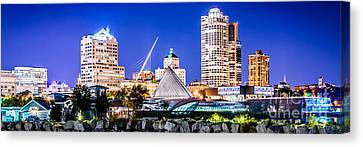 Milwaukee Skyline At Night Photo In Blue Canvas Print
