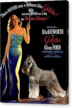 Miniature Schnauzer Art Canvas Print - Gilda Movie Poster Canvas Print by Sandra Sij