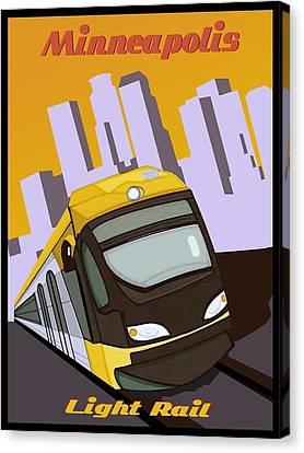 Minneapolis Light Rail Travel Poster Canvas Print by Jude Labuszewski