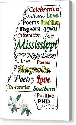 Mississippi Magnolia Love Canvas Print by Patricia Neely-Dorsey