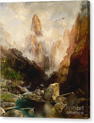 Mist In Kanab Canyon Utah Canvas Print by Celestial Images