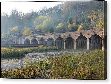Misty Morning In Coalbrookdale Shropshire Canvas Print by Liz  Callan