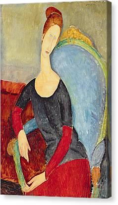 Mme Hebuterne In A Blue Chair Canvas Print by Celestial Images