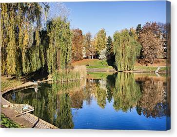 Moczydlo Park In Warsaw Canvas Print by Artur Bogacki