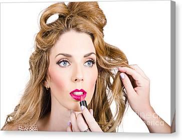 Model Makeup At Work Canvas Print