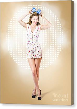 Modelling Pinup Girl Wearing Bow Hair Accessory Canvas Print by Jorgo Photography - Wall Art Gallery