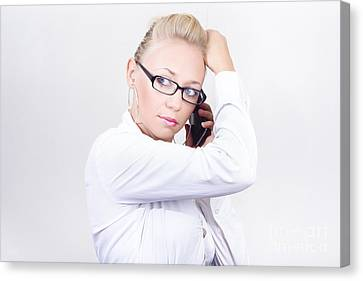Modern Executive Businesswoman On Smartphone Canvas Print by Jorgo Photography - Wall Art Gallery
