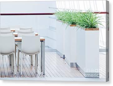 Modern Restaurant Interior Canvas Print by Michal Bednarek