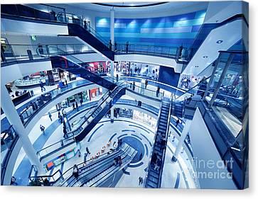 Modern Shopping Mall Interior Canvas Print by Michal Bednarek
