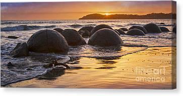 Moeraki Boulders Otago New Zealand Sunrise Canvas Print by Colin and Linda McKie