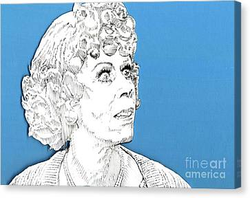 Canvas Print featuring the mixed media Momma On Blue by Jason Tricktop Matthews