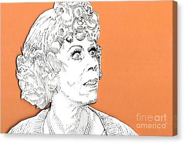momma on Orange Canvas Print by Jason Tricktop Matthews