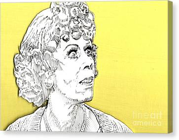 Canvas Print featuring the mixed media Momma On Yellow by Jason Tricktop Matthews