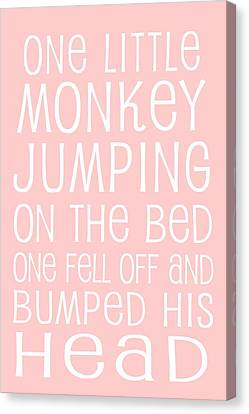 Monkey Jumping On The Bed Canvas Print by Jaime Friedman
