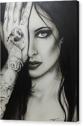 Portrait Of Woman Canvas Print - Portrait - ' Monochromatic Rosa ' by Christian Chapman Art