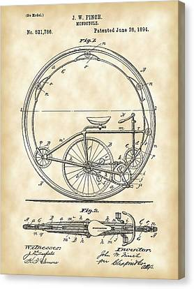 Monocycle Patent 1894 - Vintage Canvas Print by Stephen Younts