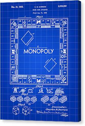Monopoly Patent 1935 - Blue Canvas Print by Stephen Younts