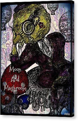 Moon And Mushroom Canvas Print by Akiko Okabe