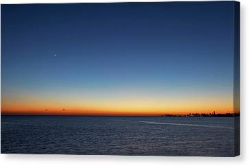 Moon And Venus At Sunrise Canvas Print by Luis Argerich