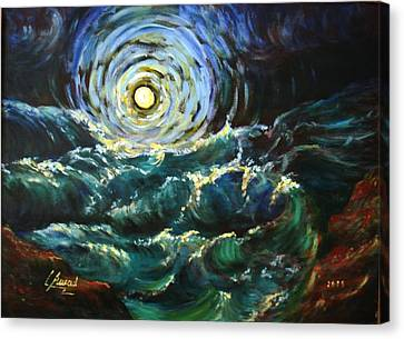 Moon And Waves Canvas Print by Laila Awad Jamaleldin