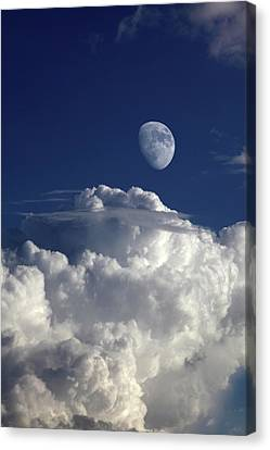 Moon In Cloudy Sky Canvas Print