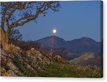Moon Over Mt Diablo Canvas Print by Marc Crumpler