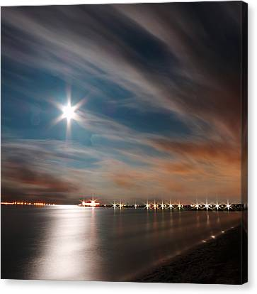 Moon Rise Over Anna Maria Island Historic City Pier Canvas Print by Rolf Bertram