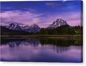 Teton Canvas Print - Moonlight Bend by Chad Dutson