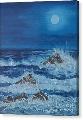 Moonlit Waves Canvas Print by Holly Martinson