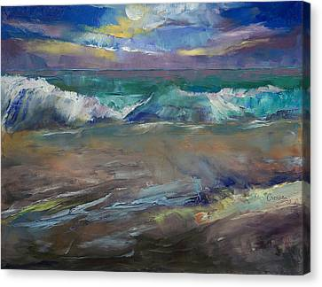 Moonlit Waves Canvas Print by Michael Creese
