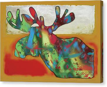 Moose - Wild Animal Stylised Pop Art Drawing Portrait Poster Canvas Print by Kim Wang