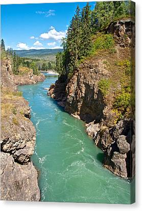Moricetown Canyon On The Bulkley River In Moricetwown-bc Canvas Print by Ruth Hager