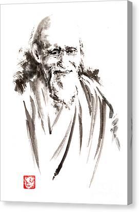 Karate Canvas Print - Morihei Ueshiba Sensei Aikido Martial Arts Japan Japanese Master Sum-e Portrait Founder by Mariusz Szmerdt