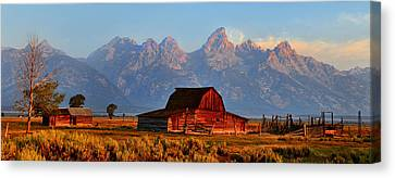 Mormon Row And The Grand Tetons  Canvas Print by Ken Smith
