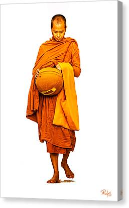 Morning Alms Walk Canvas Print by Allan Rufus