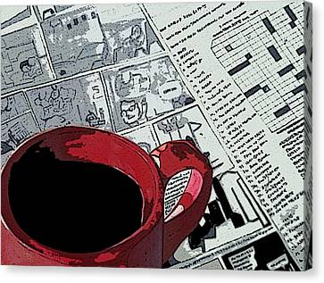 Coffee/tea And Newspaper Canvas Print by Anuradha Gupta