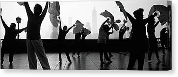 Morning Exercise, The Bund, Shanghai Canvas Print by Panoramic Images