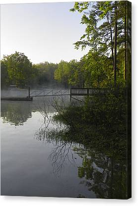 Morning Fog On The Lake Canvas Print