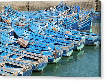Morocco, Essaouira, Small Boats Tied Canvas Print by Emily Wilson