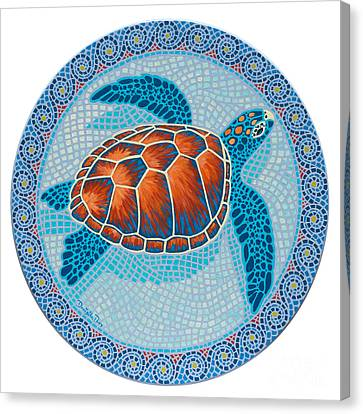 Mosaic Turtle Canvas Print by Danielle  Perry