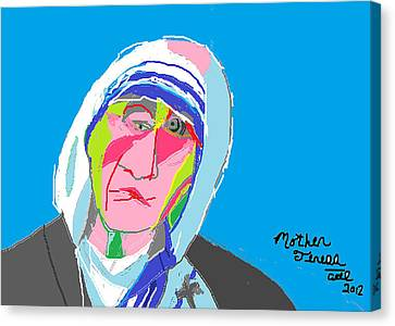 Mother Teresa Canvas Print by Anita Dale Livaditis