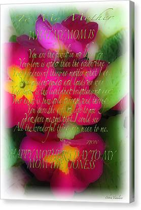 Mothers Day Poem Canvas Print by Debra     Vatalaro