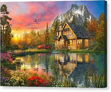 Mountain Cabin Canvas Print by Dominic Davison