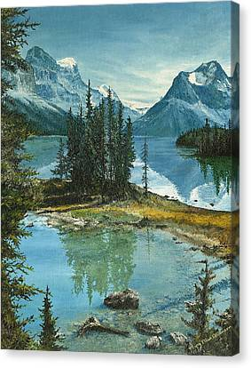 Canvas Print featuring the painting Mountain Island Sanctuary by Mary Ellen Anderson