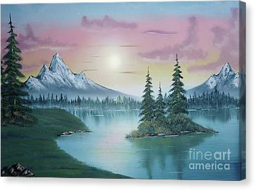 Mountain Lake Painting A La Bob Ross 1 Canvas Print